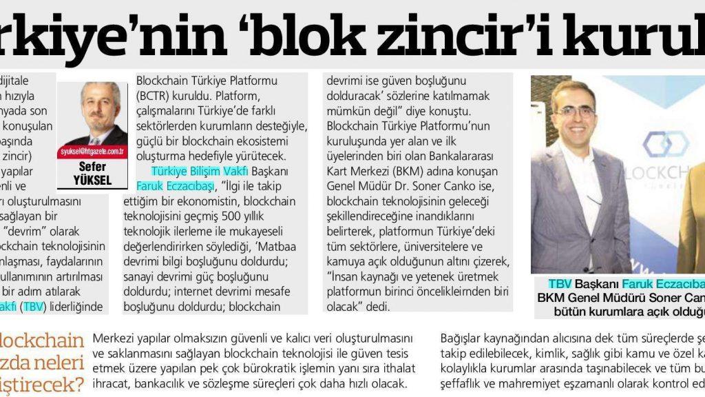 Türkiye'nin 'blok zincir'i kuruldu